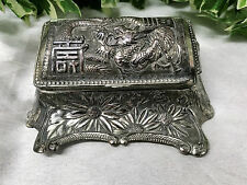 Stunning Antique Silver Plate Oriental Chinese Ornate Dragon & Floral Inkwell