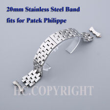 Top Stainless Steel Siliver Curved End Bracelet Watch Band Butterfly Buckle 20mm