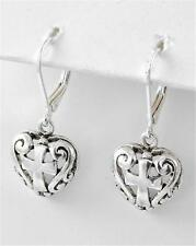 NWT SILVER CROSS & HEART FILIGREE Dangle LEVERBACK EARRINGS BRIGHTON BAY