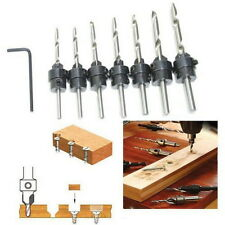 22Pc Tapered Drill & Countersink Bit Screw Set Wood Pilot Hole For Wood 7PCS MM