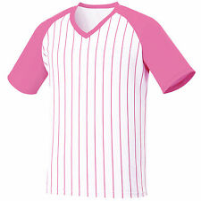 New Men Womens V Neck Baseball Striped Jersey Raglan T Shirt Team Sport Tee Tops