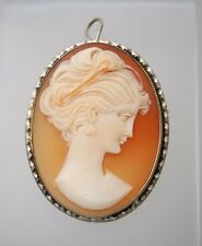 Vintage 800 Silver Shell Cameo Pin Brooch Pendant