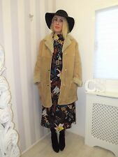 Almost Famous Bohemian Supple 70's Sheepskin Leather Suede Shearling Coat 12 14