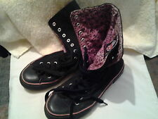 UNDERGROUND.ENGLAND.CO. Black and mauve gothic boots. size 8.