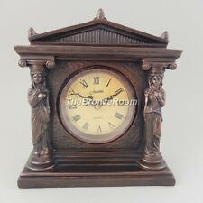 Roman Style Mantel Bronzed Clock - 2 Ladies in Column by Juliana