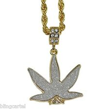 """Weed Leaf Gold Plated Charm Marijuana Sparkly Micro Pendant 24"""" In Rope Chain"""