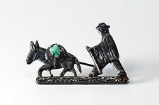 Vintage Colombian Emerald 900 Silver Donkey Pin