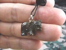 (an-ele-8) ELEPHANT Brown TIGER'S EYE carving Pendant NECKLACE FIGURINE gemstone