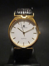 B32 NEW JB CHAMPION Gold Dress Black Leather Band WATCH VINTAGE Classy Quartz