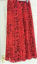 "Vintage pleated fully lined red skirt & black ""tiger"" print size 10 - 70's 80's"