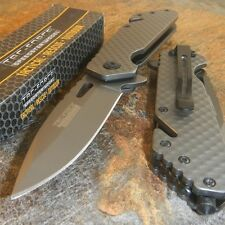 TAC-FORCE Spring Assisted Open TACTICAL GREY TITANIUM Blade RESCUE Pocket Knife