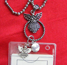 Miracle Charms Guardian Angel ID Badge Tag Key Glass Holder Necklace Lanyard BIN