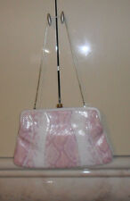 Via Spiga Style-Snakeskin Handbag Clutch Purse Silver Pink Leather Clasp