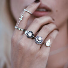 4PCS Boho Stylish Lady Above Knuckle Ring Stack Plain Chain Finger Tip Rings Set