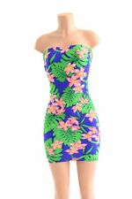 SMALL Hawaiian Floral Strapless Elastic Top Tube Dress
