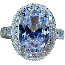 Exquisite Oval Cut Clear White Topaz Gemstones Silver Ring Size 7 Free Shipping