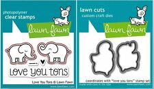 Lawn Fawn Photopolymer Clear Stamps-5ct PLUS DIES ~ LOVE YOU TONS ~ LF598, LF600