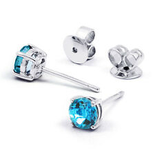 NEW 18 Carat White Gold & Blue Topaz Solitaire Earrings