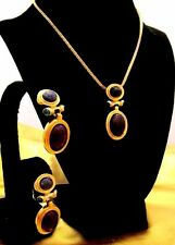 Vintage CHRISTIAN DIOR Unsigned Couture Scarab Gripoix Necklace Earring Set