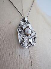 Vintage Danish Modernist Sterling Silver Pearl Pendant Necklace