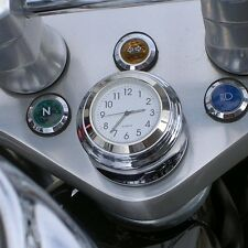 Whtie Motorcycle Parts Bike Dial Clock & Thermometer Handlebar Mount Temp
