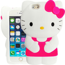 3D Pink White Hello Kitty Case for Apple iPhone 6 / 6S Silicone Rubber Cover