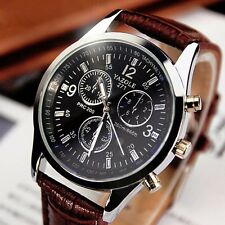 Fashion Mens Brown Leather Watch Stainless Steel Military Sport Quartz Watch New
