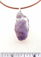 "CHEVRON AMETHYST ARTISAN PENDANT Necklace 18"" Leather Cord SS Clasp A016.12"
