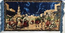 "Vintage Middle Eastern Outdoor Market Scene Vibrant Colored Tapestry 21"" x 40"""