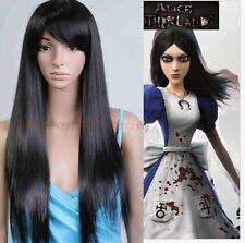 Black Long Straight Natural Bangs Full Wigs Alice Madness Returns Cosplay Wig