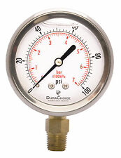 "2-1/2"" Oil Filled Pressure Gauge - SS/Br 1/4"" NPT Lower Mount 100PSI"