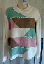 ALFRED DUNNER Chenille SWEATER Ivory WHiTE+Pink Aqua Brown Crew neck Lg Slv L