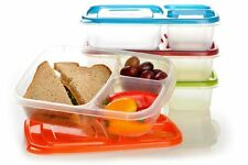 NEW 3-Compartment Lunch Box Containers (4) Bpa-Free Easy-Open Lids Kid Friendly