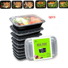 9PCS Safe Plastic Microwavable Containers Food Storage Lunch Box +Lids STACKABLE
