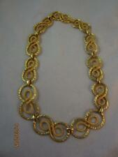 FAB VTG LUCIEN PICARD TEXTURED & DIMPLED ABSTRACT SWIRL GRADUATING LINK NECKLACE