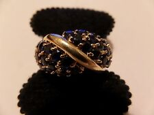 10K YELLOW GOLD BLUE STONES SIZE 10 RING PRANDA NORTH AMERICA SAPPHIRES