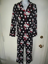 Juniors HELLO KITTY Long sleeve Winter PAJAMA SET Black Polka Dots with Red PJ's