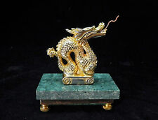 Pocket Watch Holder Stand ~ Brass Dragon on Green Marble Base
