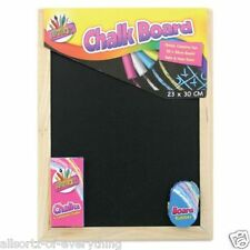 Wooden Chalk Black Board Set Duster Blackboard 23cm x 30cm