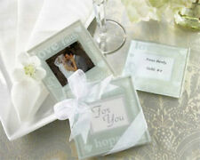 Good Wishes Pearlized Glass Photo Coasters Gift Set Wedding Favors 2-pk