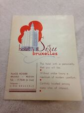 BELGIUM - BRUXELLES - Brussels SIRU HOTEL   Fold Out Brochure With Map 1940's