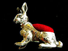 Sterling Silver Hare Bunny Rabbit Sewing Pin Cushion Pen Ink Blot Edwardian Styl
