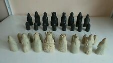 Vintage Old Large Medieval Felted Chess Set Resin w 9.5cm King Piece Antique Sty