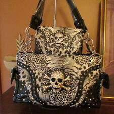 Skull Handbag with Wallet Black and White Leopard