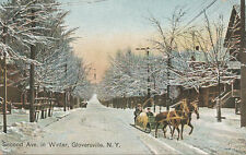 Gloversville NY * 2nd Ave. in Winter ca. 1908  Horse Drawn Sleigh * Fulton Co.