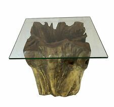 Teak Wooden Root Trunk Square Coffee Table with Glass Natural Rustic Dia 45cm