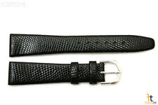 18mm Genuine Black Lizard Skin Watch Band Strap Silver Tone Buckle
