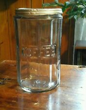 Antique Hoosier Paneled GLASS COFFEE CANISTER Metal Lid