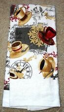 Coffee Cups Clock Red French Cafe Style Dish Kitchen Hand Guest Towel