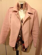 FAB BABY PINK LEATHER LOOK BIKER JACKET BRAND NEW SIZE UK 12 EUR 40